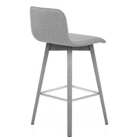 Tide Grey Wood Stool Grey Fabric