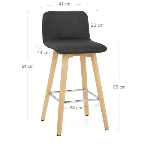 Tide Wooden Stool Black Fabric