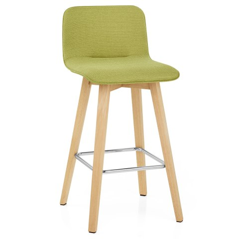 Tide Wooden Stool Green Fabric