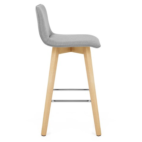 Tide Wooden Stool Grey Fabric