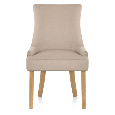 Richmond Oak Dining Chair Beige Fabric - Atlantic Shopping