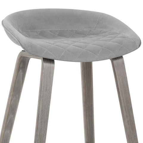 Epic Wooden Stool Grey Velvet
