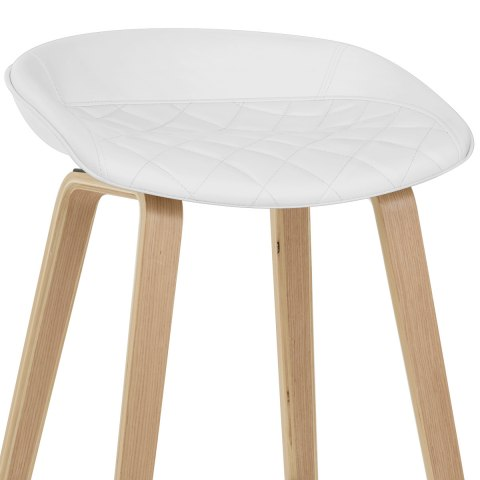 Epic Wooden Stool White Leather
