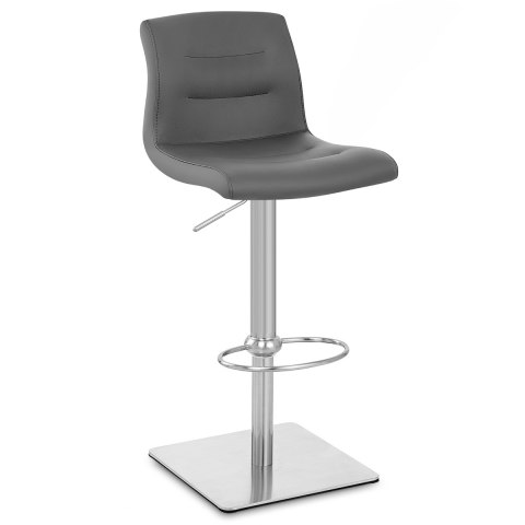 Deluxe Paradis Leather Brushed Stool Grey