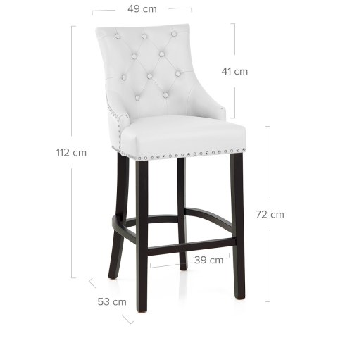 Ascot Bar Stool White Leather