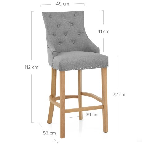 Ascot Oak Stool Grey Fabric