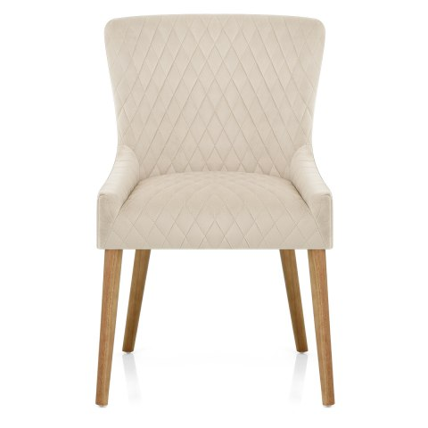 City Oak Chair Cream Velvet