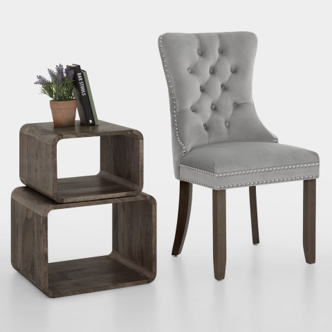 Kensington Dining Chair Grey Velvet