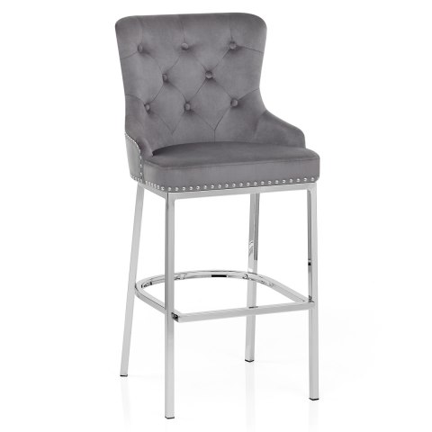 Grange Bar Stool Grey Velvet
