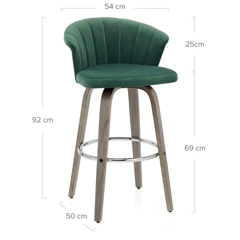 Concerto Wooden Stool Green Velvet