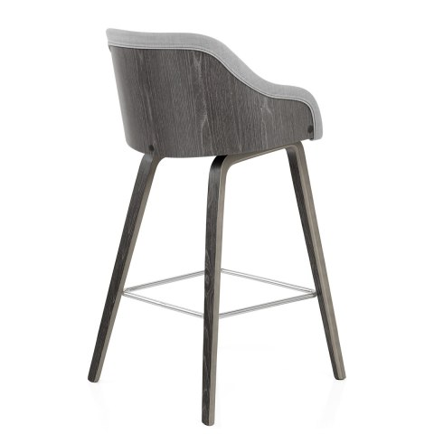 Adele Wooden Stool Grey Fabric