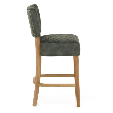 Ramsay Oak Bar Stool Green Velvet