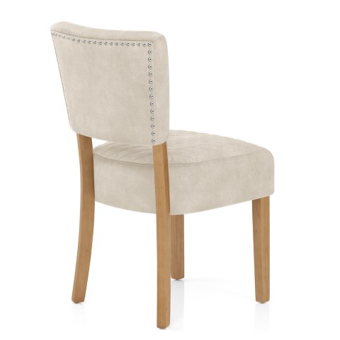 Ramsay Oak Dining Chair Beige Velvet
