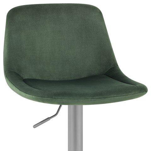 Scoop Brushed Stool Green Velvet
