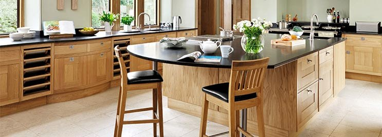 Grasmere Oak Bar Stool Black in Oak and Granite Kitchen