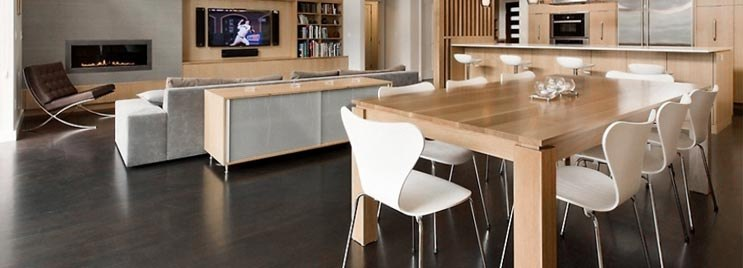 White Candy Chairs in Wooden Open Plan Home