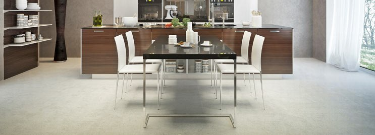 White Dining Chairs at Black Chrome Dining Table