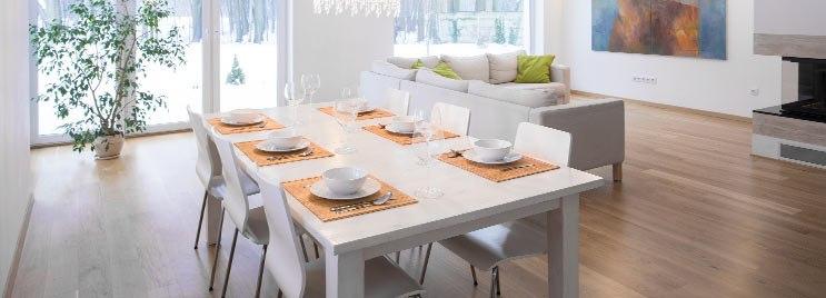 White Dining Set in Modern Open Plan Living Room
