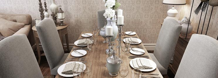 Large Dining Table with Six Grey Chairs