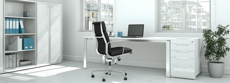 Black Eames 3 Cushion Office Chair in White Office