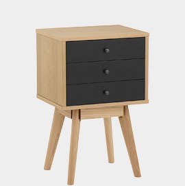 Ambience Set Of Drawers Oak And Black