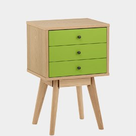 Ambience Set Of Drawers Oak And Green