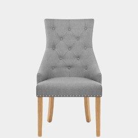 Ascot Oak Dining Chair Grey Fabric