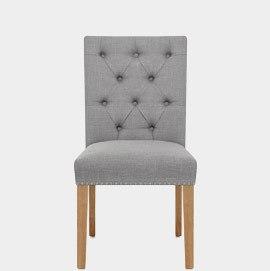 Barrington Oak Dining Chair Grey Fabric