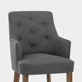 Broadway Oak Chair Charcoal Fabric