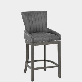 Chiltern Wooden Bar Stool Grey Leather