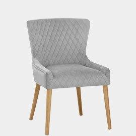 City Oak Chair Grey Velvet
