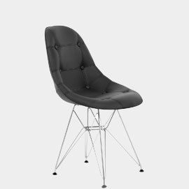 Cushioned Eames Style DSR Chair Black