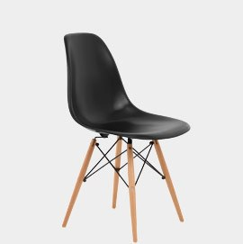 Eames Style Wooden Chair Satin Black Seat