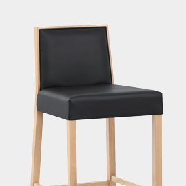 Empire Beech And Black Leather Stool