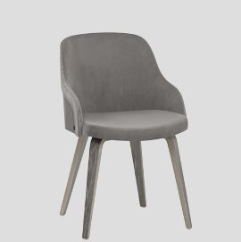 Fusion Wooden Chair Grey Velvet
