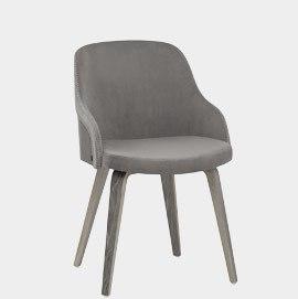 Fusion Wooden Chair Grey Velvet