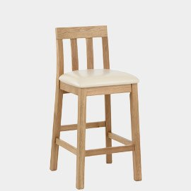 Jacob Oak And Cream Leather Stool