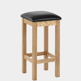 Leo Oak And Leather Stool Black