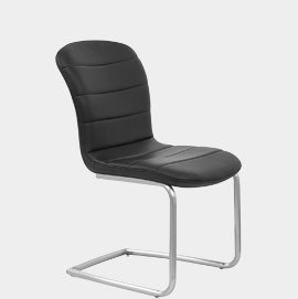 Mica Brushed Steel Dining Chair Black