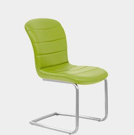 Mica Brushed Steel Dining Chair Green