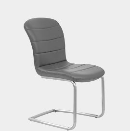 Mica Brushed Steel Dining Chair Grey