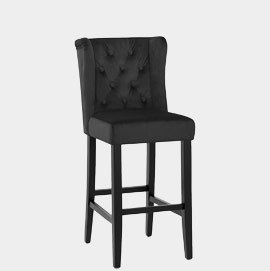Pemberley Bar Stool Black Velvet