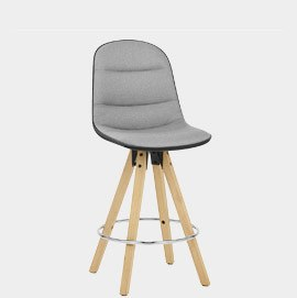 Ski Bar Stool Grey & Black