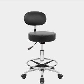 Swivel Stool with Back Black