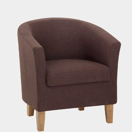 Tub Chair Brown Fabric