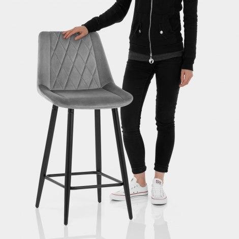 Indi Bar Stool Grey Velvet Features Image