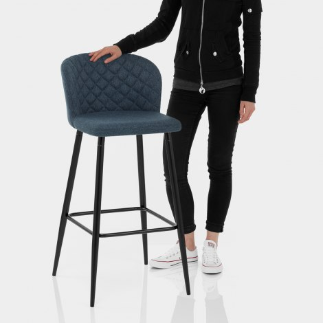 Strand High Bar Stool Blue Fabric Features Image