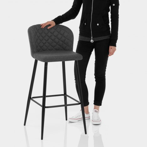 Strand High Bar Stool Charcoal Fabric Features Image