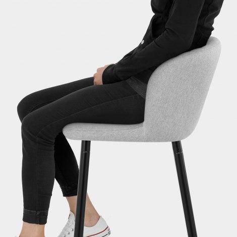 Strand High Bar Stool Grey Fabric Seat Image