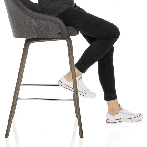 Adele Wooden Stool Charcoal Seat Image